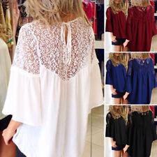 Zanzea Women Long Sleeve Floral Lace Crochet Splice Chiffon Blouse Tops Shirts
