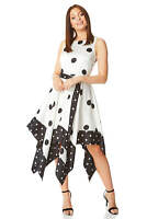 Spot Print Asymmetric Hanky Hem Fit & Flare Occasion Dress Roman Originals Women