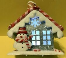 Gingerbread House W/ Snowman At Door - Lights Up! - Christmas Holiday Ornament