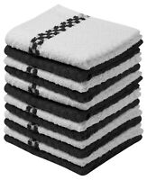 "12 Pack Kitchen Towel Dish Cloth Super Absorbent Tea Towels 15x25"" Check Design"