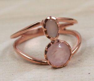 Rose Quartz Moonstone Solid 925 Sterling Silver Rose Gold Plated US4 Ring SR5583