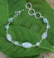 Solid 925 Sterling Silver Moonstone blue Topaz Gemstone Womens 8 inch Bracelet
