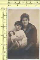 Woman and Girl with Doll Lady Mother Child Daughter Portrait vintage photo orig.