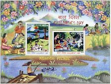 India 2016 MNH Children's Day Picnic 2v M/S Trees Flowers Landscapes Stamps
