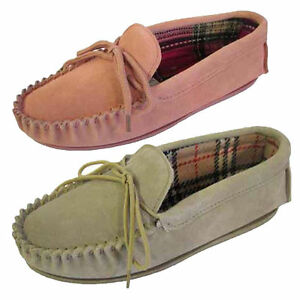 Womens Moccasin Style Real Leather Slippers Tartan Inner Navy Beige Pink