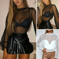 Women Sheer Mesh Fish Net Long Sleeve Turtle Neck See Crop Top T-Shirt Blouse