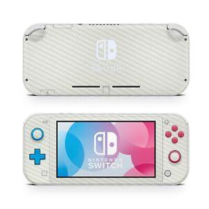 For Nintendo Switch Lite White Carbon Vinyl Skin Wrap Case Cover Sticker Protect