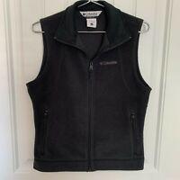 Columbia Black Fleece Vest Jacket Full Zipper Zip Pockets Women's Size Small