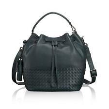 Tumi NoHo Georgie Green Pebbled Leather Bucket Bag Drawstring Purse Tote Handbag