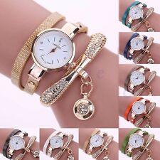 Women's Fashion Ladies Leather Wrap Crystal Rhinestone Analog Quartz Wrist Watch