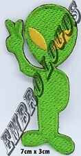 #1242 Alien UFO Peace Sign Embroidered Iron green with yellow eyes Patch