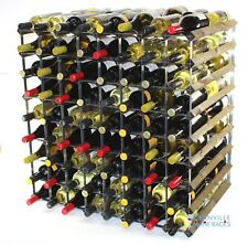 Double depth 144 bottle dark oak stained wood and metal wine rack ready to use