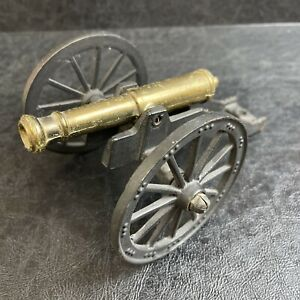 CAST IRON / BRASS CANNON OLD ON 2 WHEEL CART TOY CIVIL WAR WELL MADE