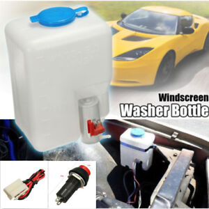 1.8L Auto Car SUV Windshield Glass Washer Reservoir 12V Pump Bottle +Jets+Switch