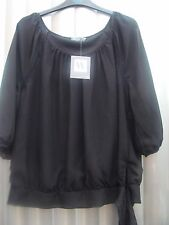 BHS Black Chiffon Long Sleeved Blouse BNWT Size 16 RRP £25