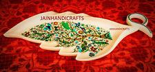 "Marble Tray plate  Marquetry Mosaic Inlay Semi Precious 10""X21"" handicraft art"