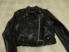 VINTAGE BROOKS MOTORCYCLE THICK LEATHER JACKET GREAT CONDITION BLACK WOMEN 36