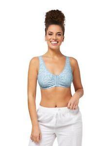 Amoena Frances non underwire front opening Mastectomy bra Light Blue/Aqua 2128
