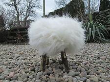Bianco O Marrone Pelle Di Pecora Pelliccia Sgabello Poggiapiedi in legno