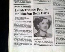 BETTE DAVIS Hollywood Movie Film Theater Actress Icon DEATH 1989 L.A. Newspaper