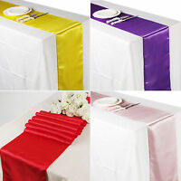 "12"" x 108"" Satin Table Runner Chair Sash Wedding Decoration Supply Party Decor"