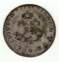 French Colonial, 1748 O Billon Double sol,  Rare Riom mint, Louis XV