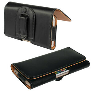 Universal BLACK Horizontal Leather Pouch Case+Belt Clip For ALL Mobile Phone