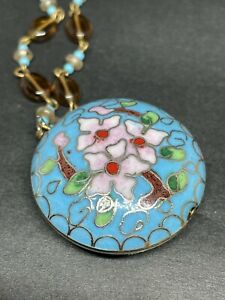 Vintage Cloisonne Pendant Necklace Beaded Blue Pink Flower Round Beads Enamel