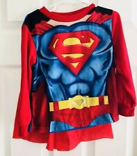 SUPERMAN DC Kids Toddler Boys Cape T-Shirt Top Size 4T Long Sleeve Red Blue