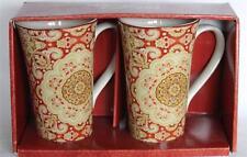 2 LYRIA SAFFRON Paisley Lrg Hvy Flare Latte Mugs 222 Fifth Red Beige Etc NIB NEW