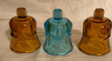 Homco 2 Amber 1 Blue Tulip Scallop Rim Peg Cup Votive Candle Holders
