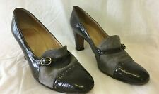 Ladies Designer Vintage Classic Shoes Size 5.5 / 38.5 Leather Suede Grey Brown