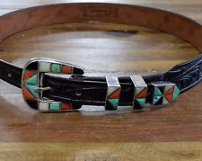Ranger Set on Leather Belt Vintage outhwest Multi-Stone Inlay Sterling Silver