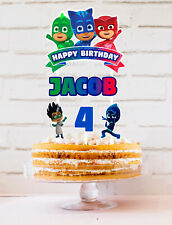 PJ MASKS PERSONALISED CAKE TOPPER BANNER PARTY LOLLY TAGS LOOT TOPPER FAVOUR