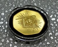 FREEMASONS, MASONIC 24ct Gold Commemorative in Capsule. Illuminati, Compasses
