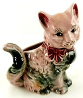 Vintage Pink Cat Planter Vase Ceramic Hand Painted Kitty Figurine for Cat Lovers