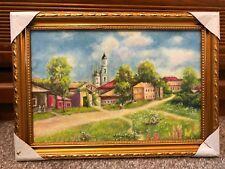 Village farm peace vintage framed oil painting on canvas 14x10''