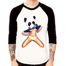 Panda Girl SEXY NUDE design graph pop Baseball t-shirt 3/4 sleeve Raglan Tee
