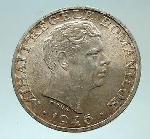 1946 ROMANIA King Michael I Shield Antique Genuine Silver Romanian Coin i75892