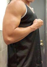 NWOT Mens Muscle Fitted Black LASC MESH NET Sleeveless Tank Top M NR