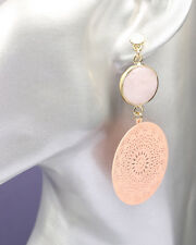 Pink Earrings Gold Tone and
