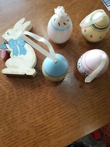 4 Decorated Wooden Easter Eggs & wooden hand painted Easter Bunny
