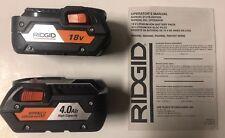 (2) nuevas RIDGID R840087 18 voltios Hyper Li-Ion baterías 4.0Ah con indicador de combustible