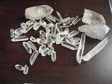 BIG Lot of Small Partially Cut Clear Quartz Crystals LOOK