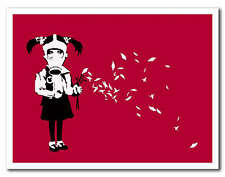 "BANKSY GAS MASK GIRL Petals *FRAMED* CANVAS ART 18x12"" - red"