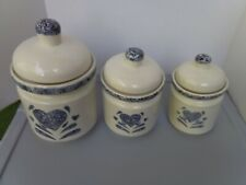 Gibson Everyday Ceramic Sponged Painted Heart Canister set of 3