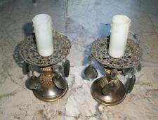 coppia antiche lampada abatjour da comodino bronzo dorato cristalli riflessi blu