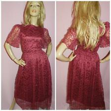 80s does 50s PINK BURGUNDY LACE FLUTTER SLV PRINCESS PROM PARTY DRESS 10 1980s