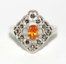 Sterling Silver 925 Ornate Marcasite and Orange Crystal Ring Women's Size 8.25