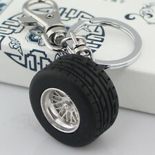 2pcs Creative Thick Rubber Wheels Tyre Tire Keychain Key Chain Ring Keyring